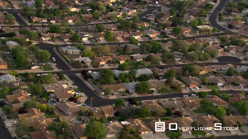 Flight over Albuquerque suburban residential area.