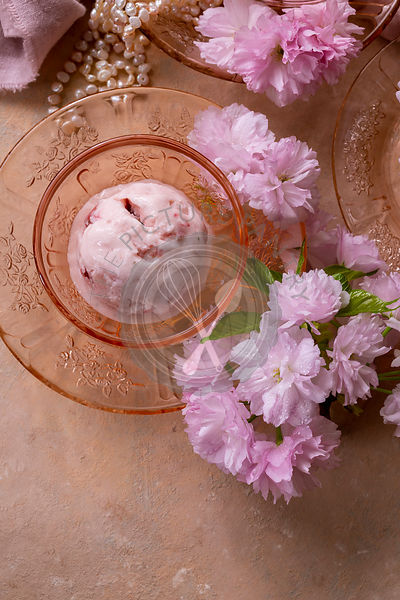 Strawberry Ice Cream alongside spring blossom