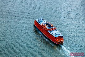 Aerial of iconic Staten Island Ferry boat, New York city, USA