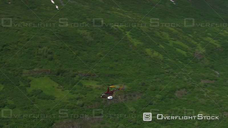 Aerial Footage of Helicopter Over Alaska Scenery