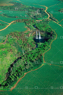 Wailua Waterfalls and sugar cane fields Kauai Hawaii