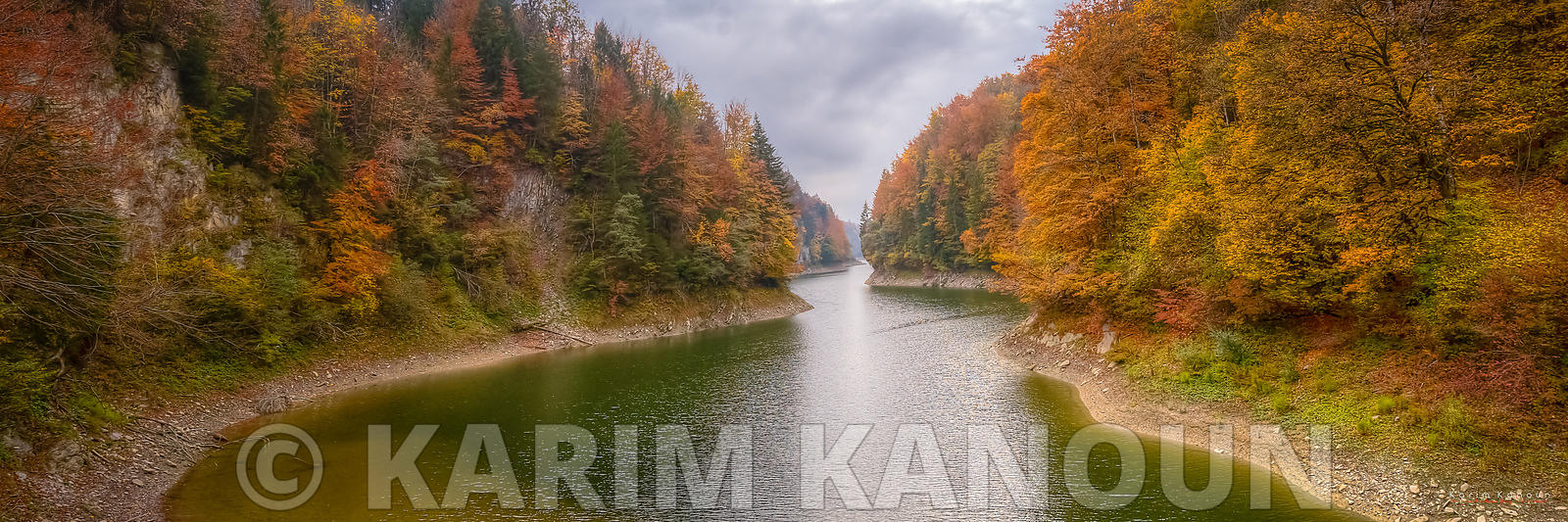 Panorama - River & forest with autumn colors - Gruyère