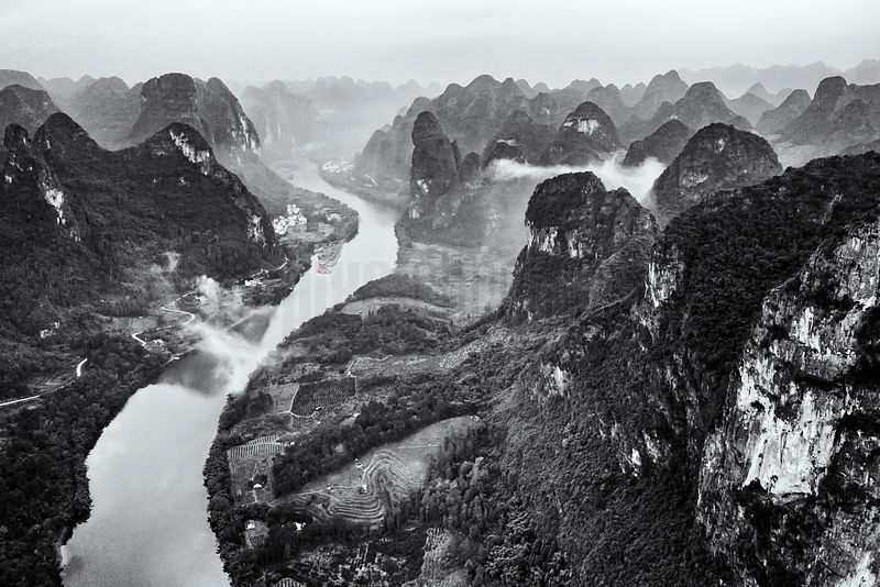 Elevated View of the Li River and the Karst Mountains