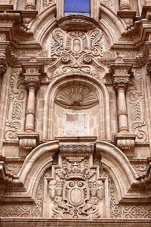 Detail of main entrance facade of church of Santiago the Apostle / Immaculate Conception, Lampa, Peru