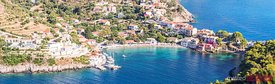 Panoramic of Assos harbor on the island of Kefalonia, Greece