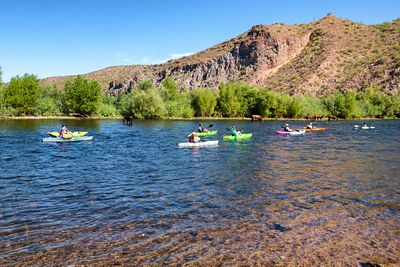 Kayakers on River in Arizona During Summer