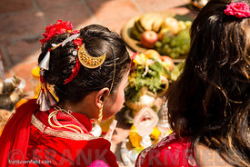 Young girls symbolic wedding ceremony.