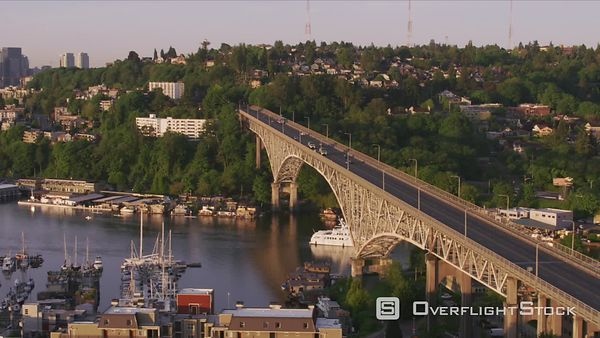 Seattle, Washington Tracking along the George Washington Memorial Bridge and over Lake Union.  Shot with Cineflex and RED EpicW Helium.