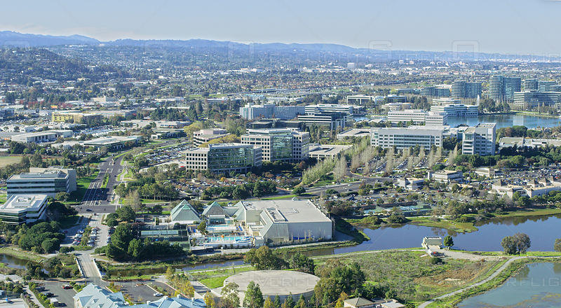 Aerial view of office parks in Silicon Valley, CA, USA