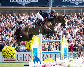 Patrice Delaveau riding Aquila HDC during the Grand Prix Longines - Ville de La Baule, in La Baule - France