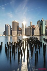 Lower Manhattan from Brooklyn piers, New York, USA