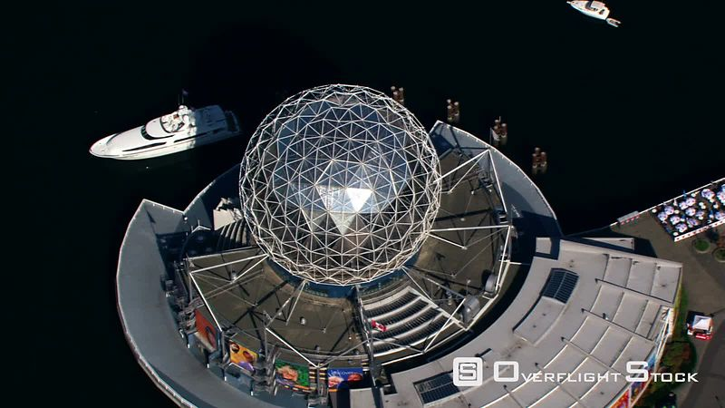 Close flight past Dome of Science World in Vancouver, British Columbia.