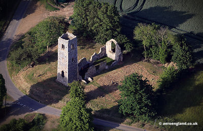 aerial photograph of St Martin's Church ruin, Shotesham, Norfolk England UK.