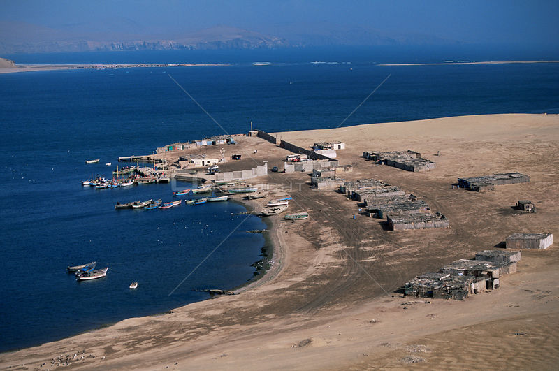 Aerial view of coastal fishing village, Laguna Grande, Paracas NP, Peru, South America
