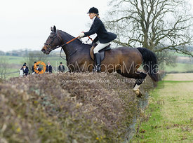 Lucinda Wright jumping a hedge near Wilson's covert