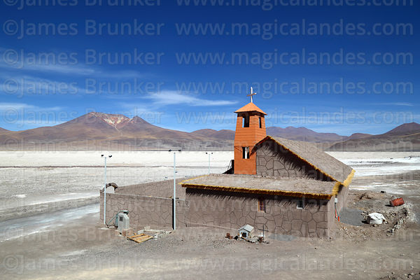Church next to Salar de Ascotan and Ascotan volcano, Region II, Chile