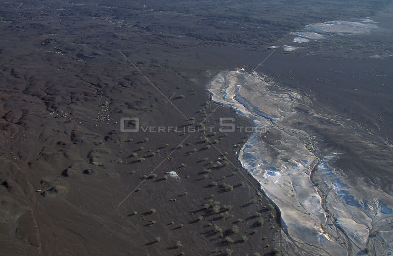 Aerial view of Djibouti with crystalline salt deposits. Sea water seeps through and evaporates. East Africa