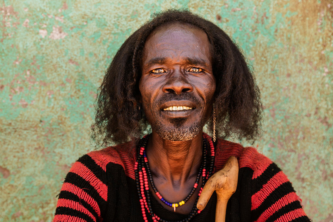 Portrait of a Man from the Hamer Tribe at the Turmi Market