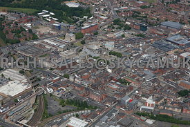 Bolton aerial photograph looking across Bollings Yard Great Moor Street towards Newport Street and the main shopping centre of Bolton