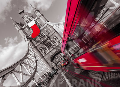 England, London, Double-Decker bus on tower bridge