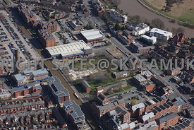 Chester aerial photograph of the Canal side and Tarvin Road area showing Derelict building land