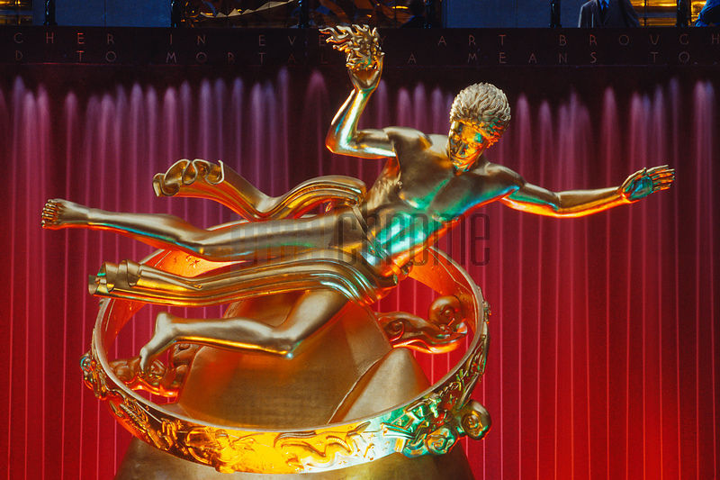 Illuminated Statue of Prometheus in front of Rockefeller Center, Manhattan, New York City, New York, United States