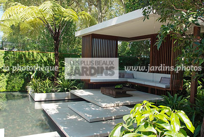 Asiatic garden, Contemporary furniture, Contemporary garden, Exotic garden, Garden construction, Garden furniture, Pavement, Resting area, Terrace, Tropical garden, Water garden, Contemporary Terrace, Malaysian garden, Tree Fern