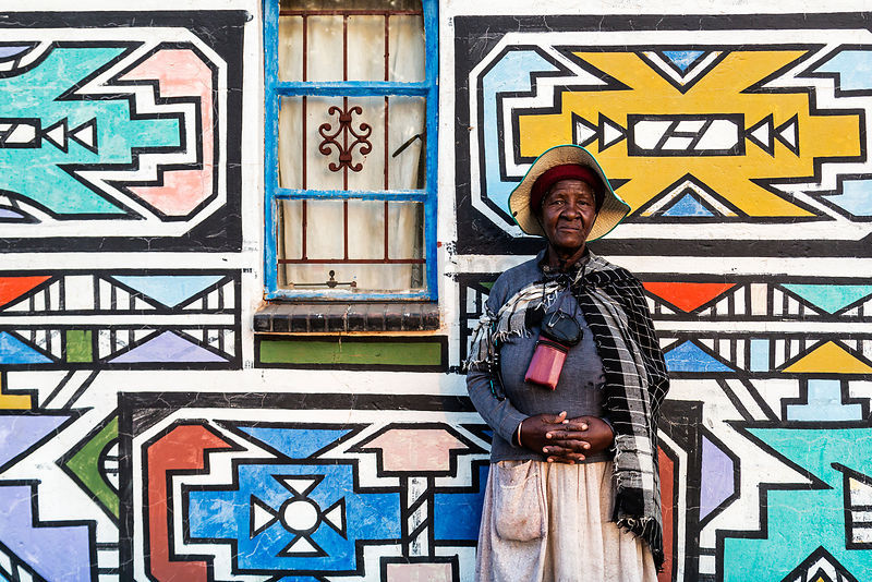 Esther Mahlangu (the second) Standing outside her Home