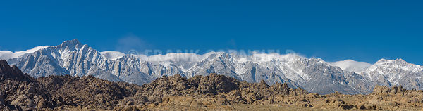 Panorama of Alabama Hills Eastern Sierra Nevada Mountains near Lone Pine California USA.