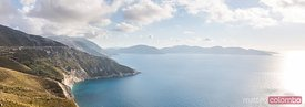 Panoramic of coastline at sunset. Kefalonia, Greek Islands, Greece