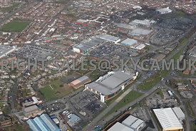 Widnes aerial photograph of  Ashley retail park looking across Ashley Way towards Widnes shopping park Gerrard street