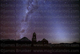Ruined church at Huacolle, Milky Way Galactic Centre, zodiacal light and Sajama volcano, Bolivia