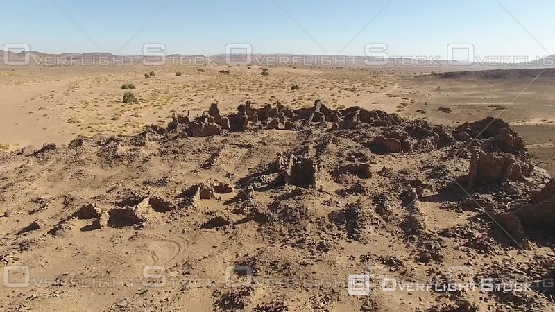 Hassis-ba-hallou Is Close to Guelb Mharch and Jbel Bou Lachrhal. Ruins of an Abandoned Village, Morocco - Northern Ramlia - Filmed by Drone