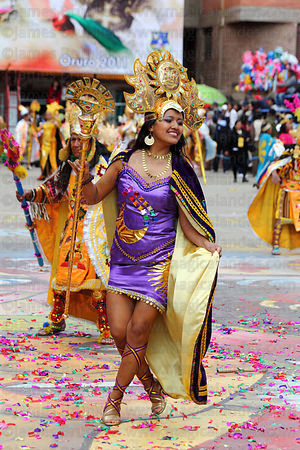 Inca princess dancing at Oruro Carnival, Bolivia