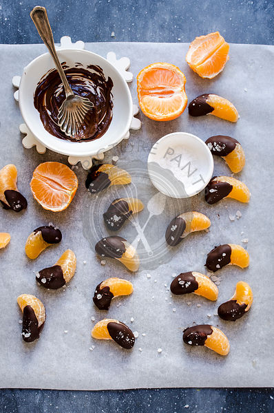 Salted chocolate dipped mandarine oranges
