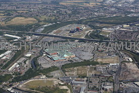 high level view of Meadowhall shopping centre north Sheffield