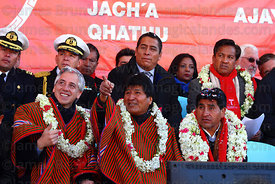 Bolivian president Evo Morales (centre) gestures towards the cable car cabins with vice president Alvaro Garcia Linera (left) during the Red Line inauguration ceremony , La Paz, Bolivia