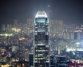 IFC tower and city of Hong Kong at night