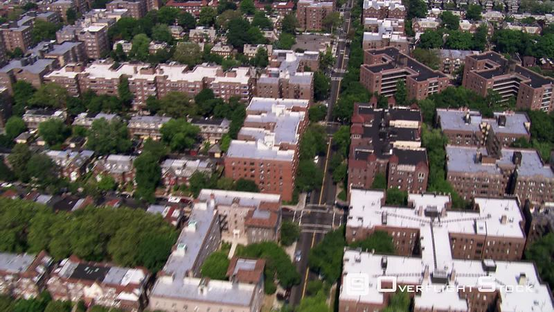 Aerial view of brownstone apartments in Queens, New York