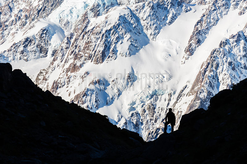 A Hiker Surveys Mt Cook from Kea Lake Trail