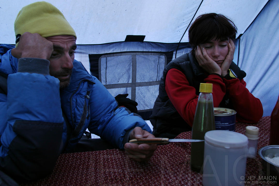 Tired climbers in base camp