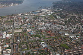 Birkenhead aerial photograph of Birkenhead town centre looking towards Cammell Laird Shipyards and the river Mersey