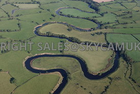 River Dee aerial photograph showing the river meandering through the Cheshire countryside