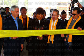 Bolivian president Evo Morales (centre) cuts a ribbon to officially open the Yellow Line , La Paz, Bolivia.