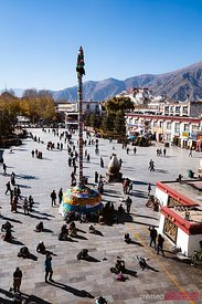 Elevated view of Barkhor square and Potala palace, Lhasa, Tibet