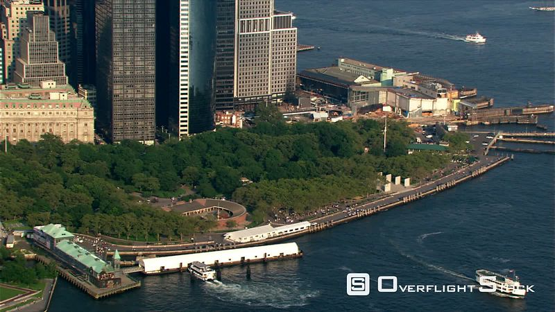 Flying past Battery Park and Lower Manhattan.
