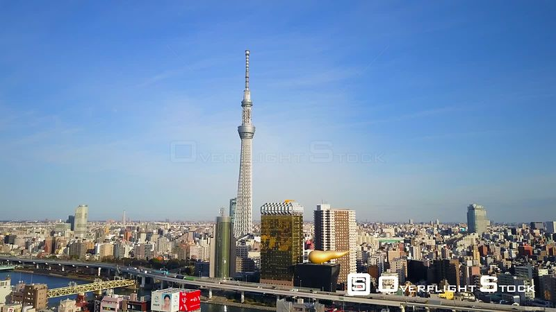 Tokyo Skytree Needle Tower Tallest Structure in Japan. Asahi Breweries.