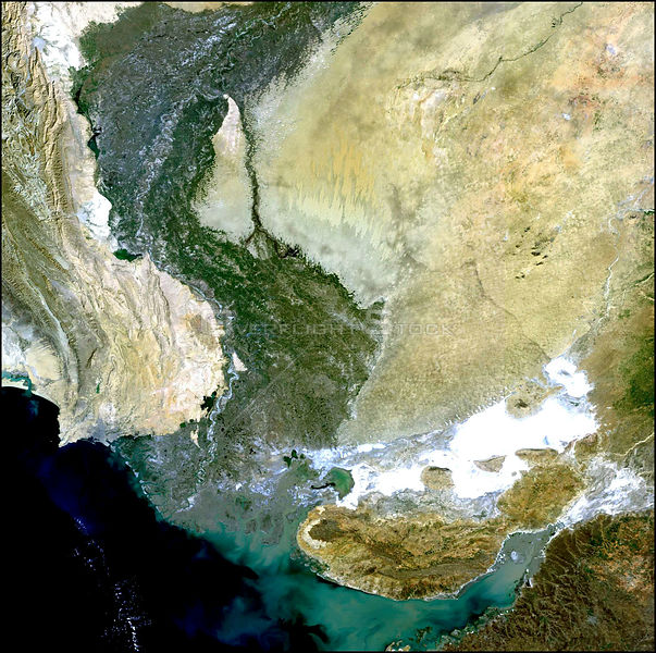 EARTH Indus Delta / Pakistan / India -- 7 January 2003 -- This Medium Resolution Imaging Spectrometer (MERIS) image shows the course of the Indus River through Pakistan