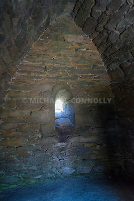 Gallarus Oratory Interior Window- Near Smerwyck Harbor, Dingle Peninsula, Ireland