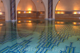 Enormous pool Inside the Hammam of the Hassan II Mosque, Casablanca, Morocco; Landscape